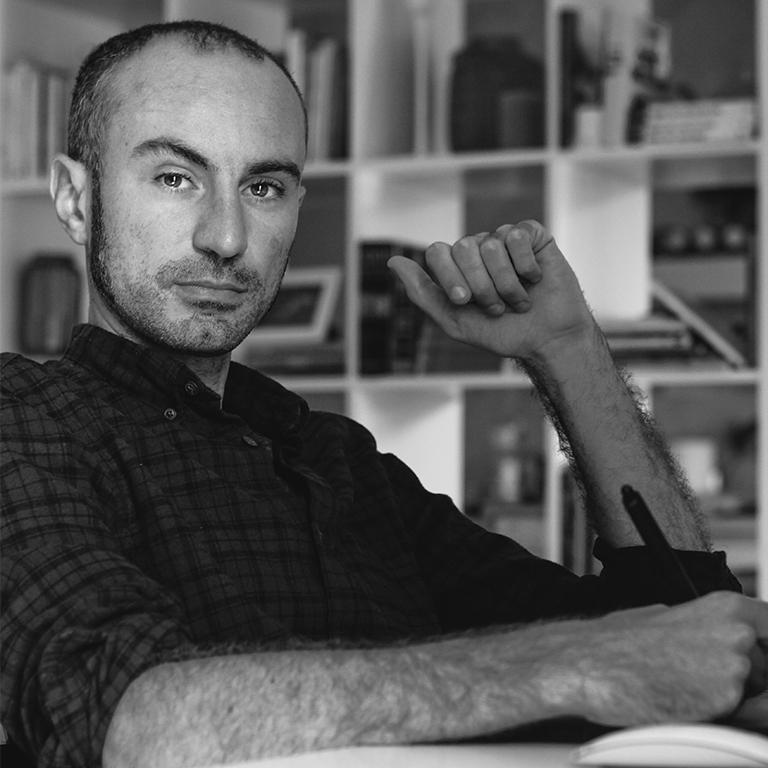 Portrait of the workshop artist Emanuele Colombo